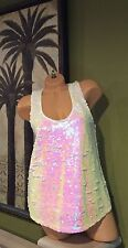 GUESS WHITE MULTI SEQUIN GLITZY BLING TANK RACERBACK CAMI SMALL & MED LEFT! HOT!