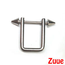SPIKED NIPPLE BAR WITH SQUARE RING SHIELD NB038