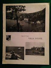 PY138 Pubblicità Advertising Clipping 32x24 cm (1947) LAGO DI COMO VILLA D'ESTE