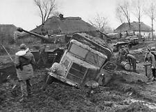WWII B&W Photo German Tiger Tanks Ukraine Mud WW2 /4062