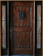 5' x 6'8 Knotty Alder Front Exterior Wood Entry Door with Sidelights