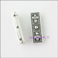 3Pcs Tibetan Silver 3-Hole Spacer Bar Beads Charms Connectors 9x26mm