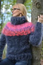 DUKYANA Hand Knitted Mohair Sweater New ICELANDIC Jumper fuzzy Tneck Pullover M