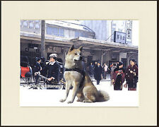 AKITA DOG AT JAPANESE RAILWAY STATION WAITS FOR MASTER DOG PRINT READY TO FRAME