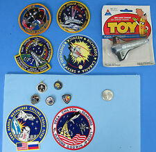 NASA LOT of 12 vtg '90s Space Shuttle Pencil Sharpener Patch Pin Sticker Astro 2