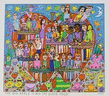 """James Rizzi  """" THE BIG APPLE IS BIG ON GOOD FOOD"""" 2-D Pop Art 1999 flat print"""