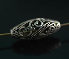 Bulk 5Pcs Tibet Sliver Hollow Out Oval Loose Bead Spacer Charms Finding 26*11mm