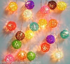 Solaires multi couleur rotin balle led guirlande 20 lampes wicker cane