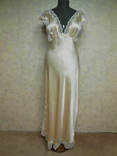 Ivory Silk, Ivory Lace Trim Long Nightgown, See Measurements