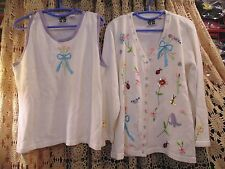Story Book Knits White Cardigan & SHELL W/Flowers BUGS BEES & Bows WOMEN SIZE 1X