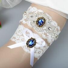 Original Design Crystal Rhinestones Beaded White Lace Wedding Garter for Bride