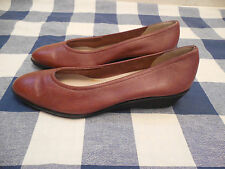 Salvatore Ferragamo Low Wedge Heels Womens Sz 10 2A Brown Leather Slides Shoes