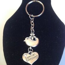 Special girlfriend bird key ring  silver plated
