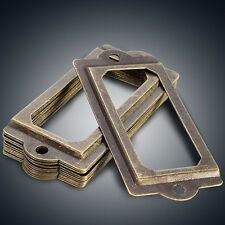 12Pcs Antique Label Pull Frame Handle File Name Card Holder For Cabinet Drawer