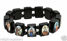 Black Wood Small Squares Bracelet with Colored Catholic Images of Saints