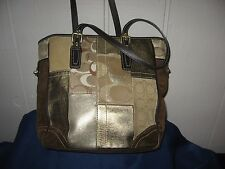 Coach 11408 Suede Brown Gold Patchwork Handbag Tote PURSE 10 x 12 x 4 EUC