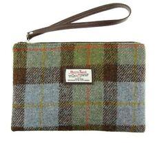 Harris Tweed Bolsa Strathy Clutch Bag en verde y azul Check lb 1029 Col15