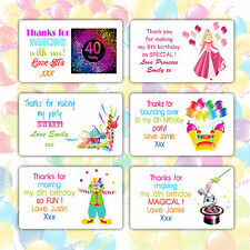 Personalised Birthday Wedding Stickers Labels Thanks for Coming to My Party Bag