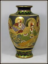 "Exquisite ""Antique Japanese Satsuma Vase of the Eight Immortals"" (14"" H x 8"" W)"