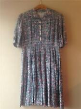 Vintage 1940s/50s Painterly Novelty Abstract Print Cotton Day Dress UK10 12