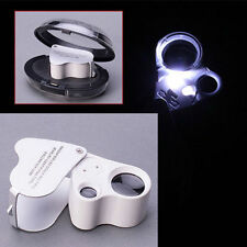 60X 30X Glass Magnifying Magnifier Jeweler Eye Jewelry Loupe Loop LED Lights NEW