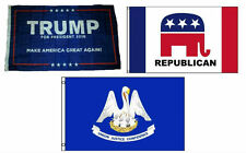 3x5 Trump #1 & Republican & State of Louisiana Wholesale Set Flag 3'x5'