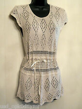 Its Our Time Lace Tunic Shirt size Medium Beige Tie Waist Cover Up Knit Top