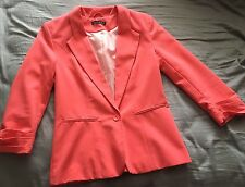 Bright coral pink blazer coat button rouched sleeves size 8 36