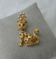Vintage Jeanne Cat Signed Rhinestone Figural Brooch Character Faux Pearl Emerald