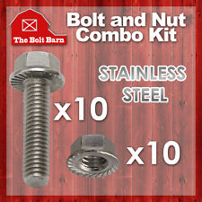 (10) 5/16-18x1-1/2 Stainless Steel Serrated Flange Bolts Screws & (10) 5/16 Nuts