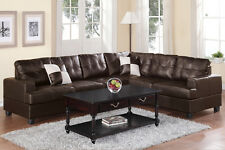 Contemporary Espresso Bonded Leather 2Pc Sectional Set Living Room Furniture