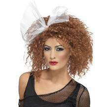 Womens 80's Brown Curly Wild Child Wig w Bow Glamour Punk Rock Fancy Dress Hen