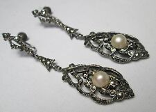 Edwardian Antique Sterling Silver Lavalier Marcasite & Pearl Pendant Earrings