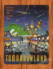 Tin Sign Disney Tomorrowland Space Mountain Rocket Attraction Ride Art Poster