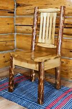 Amish Log Dining Room Chairs Lodge Cabin Furniture Solid Wood Kitchen Chair
