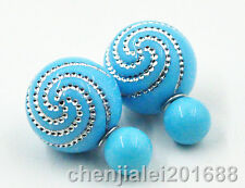 New Women Charm Gold Plated Light Blue Earrings Fashion Ear Stud Earrings