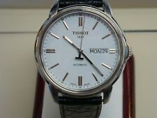 Tissot Men's Automatic Watch White Dial Black Leather Band