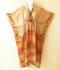 KL80 Vintage Crinkled Silk Kaftan Batwing Empire Maternity Blouse Dress -M to 2X