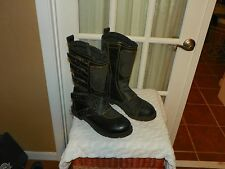 Men's Icon 1000 Elsinore Black Leather Motorcycle Riding Boots Size 11 Excellent