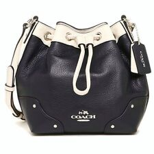 New Coach Baby Mickie Drawstring Shoulder Bag Leather Midnight/Chalk F37682
