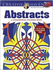 ADULT COLORING BOOK ~ ABSTRACTS ~ 3D w/ GLASSES ~ PERFORATED PAGES 4 FRAMING!