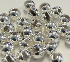 """TUNGSTEN SLOTTED FLY TYING BEADS SILVER 4.0 MM 5/32 """" 100 COUNT"""