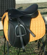 """Small Draft horse 17"""" Dressage saddle by Ascot  8"""" wide gullet ( WIDE TREE )"""