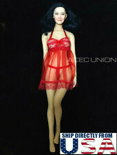 "1/6 Sexy Lace Babydoll Chemise Set RED For 12"" Phicen Hot Toys Female Body USA"