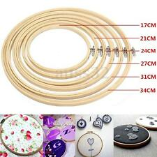 Set of 6 Embroidery Hoop Bamboo Wooden Rings Cross Stitch Needlecraft 17~34cm