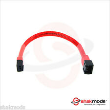 Shakmods 3 pin Fan Red Sleeved 15cm Computer Hand Sleeved Extension Cable UK