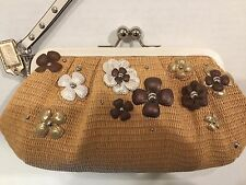NWT COACH 45266 SNAWT Natural Flora Straw Clutch Purse Wallet Bag