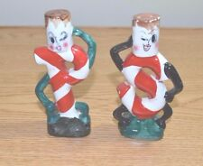Vintage Lefton Anthropomorphic Christmas Candy Cane Salt & Pepper Shaker Japan