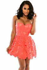 Abito a fascia ricamato nudo pizzo Sweetheart Bandeau Lace Applique Skater Dress