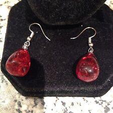 Splendido Rosso Argento Sterling 925 Orecchini a Goccia Ambra Pressato